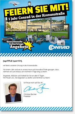 Filialnewsletter für Conrad Electronic.
